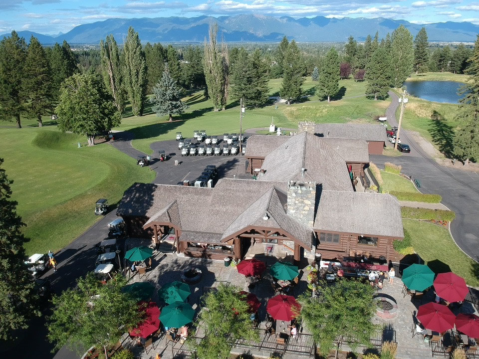 Aerial view of clubhouse, patio