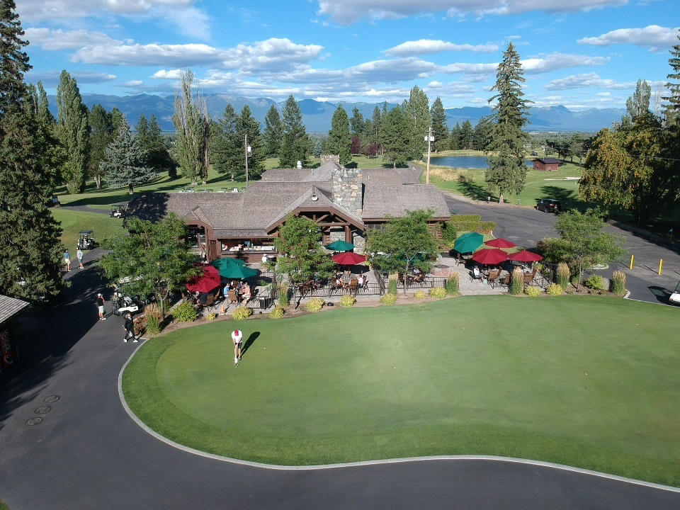 Aerial view of patio and putting green