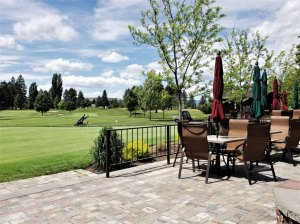 Patio bar and restaurant view of putting green and chipping area